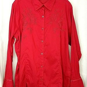 Wrangler blues womens western top size XL red